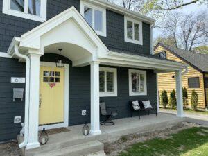 Front portico, porch & siding